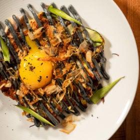 Acookanamedmatt Japanese pancaked Asparagus Okonomiyaki