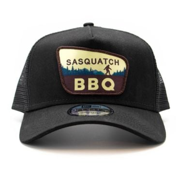 Sasquatch BBQ black trucker hat front view