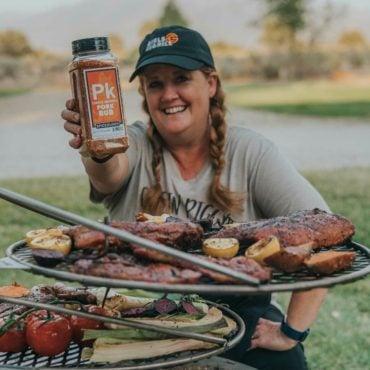 Christie Vanover grilling with pork rub seasoning