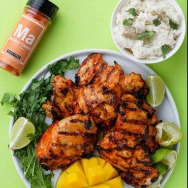 Grilled Mango Tango chicken thighs