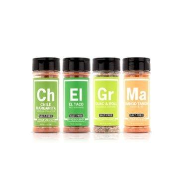 Mexican Street Foods salt-free seasoning variety pack includes mexican seasonings and chile lime seasonings in 3oz jars