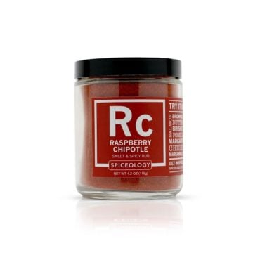 Seafood Lovers Raspberry Chipotle seafood seasoning in 4oz jar