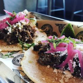 Carnitas pork cheek tacos