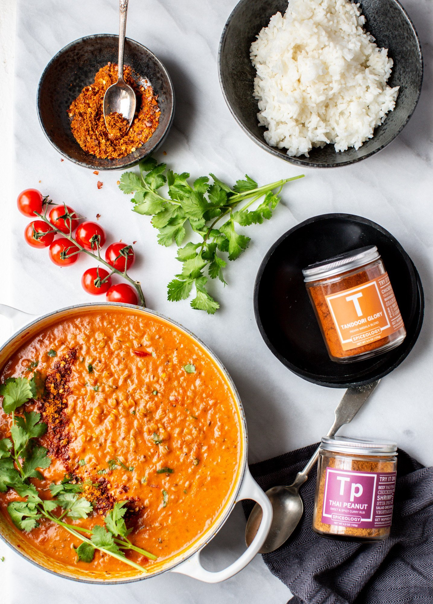 Cream coconut lentil curry