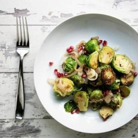 Brussel sprouts with shallots and pomegranates