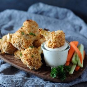 Christie Vanover cauliflower wings dipped in ranch