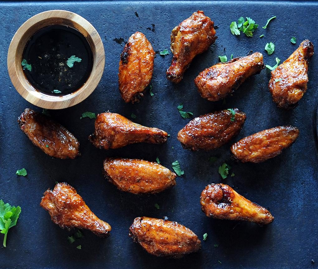 Christie Vanover chicken wings on a platter with dipping sauce