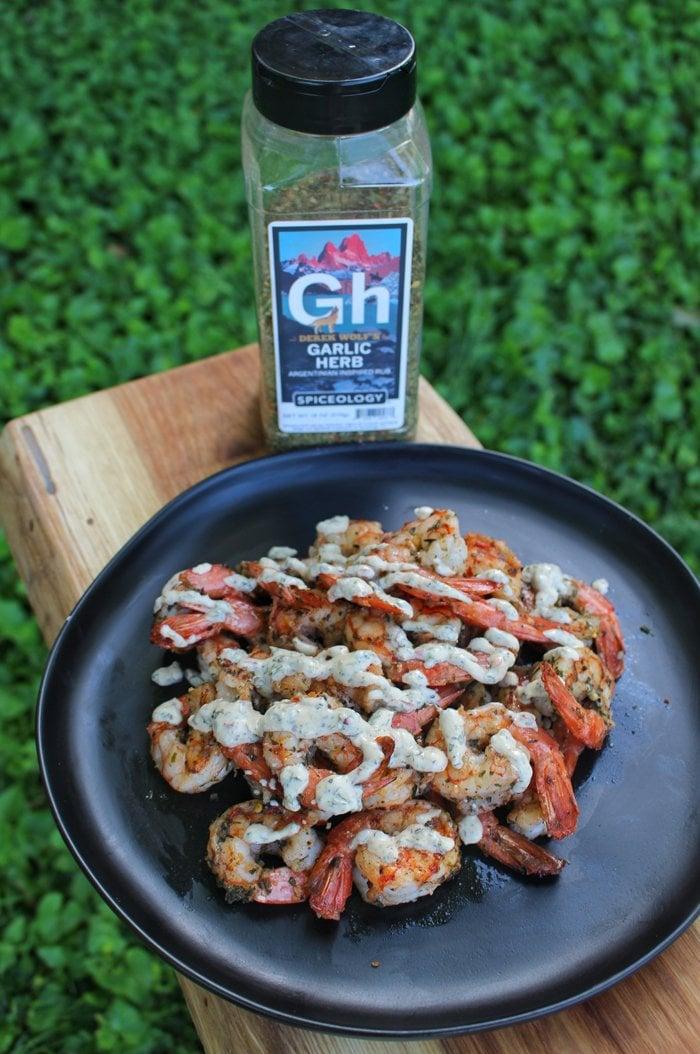 Garlic Herb Shrimp Skewers w/Chimi Cream Sauce