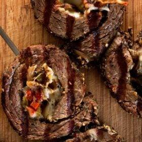 Grilled cheese steak pinwheels on skewers