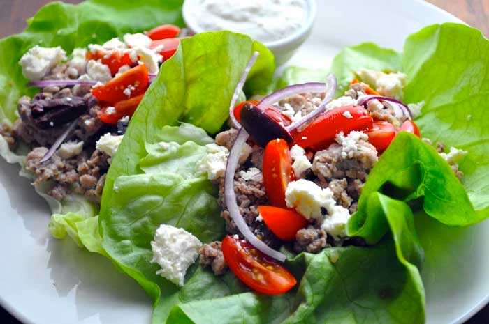 Greek Turkey Lettuce Wraps recipe