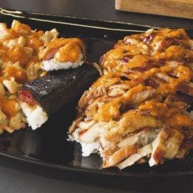 Hawaiian feast dish with fried rice