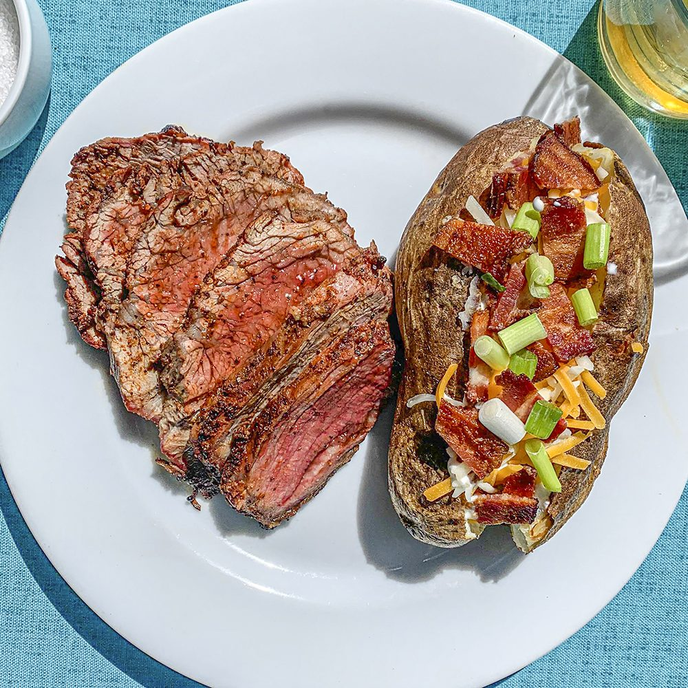 Red Tuxedo steak with loaded potato