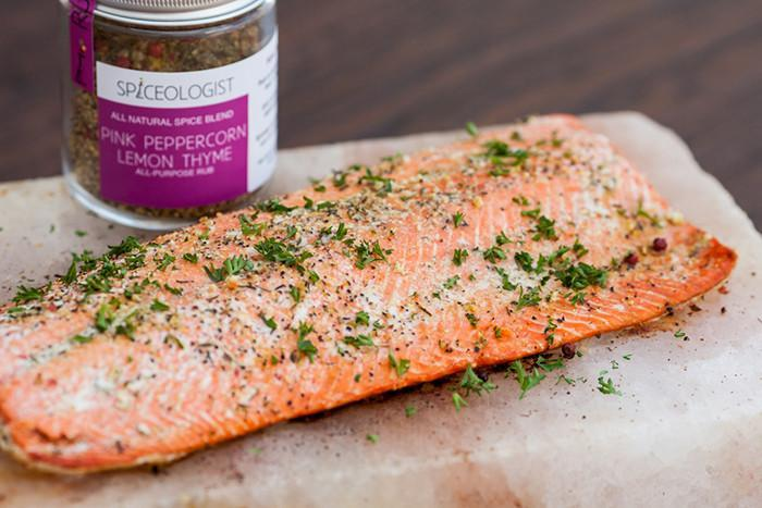 Salt Block Grilled Salmon Recipe With Pink Peppercorn Lemon Thyme Seasoning