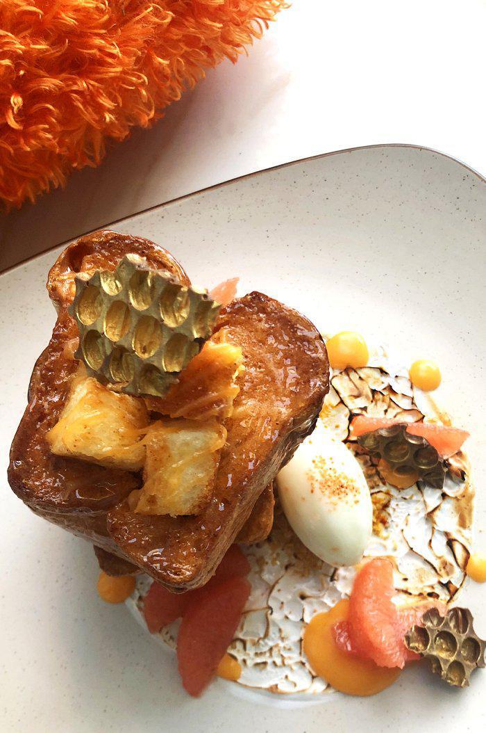 "Smoky Habanero Honey Toast with ""Campfire Meringue"" and Citrus Curd"