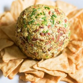 Lemon pepper crusted cheese ball with chips