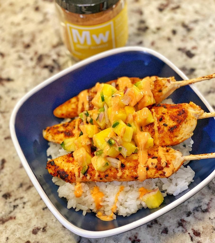 Tropical Chicken Skewers with Pineapple Salsa recipe
