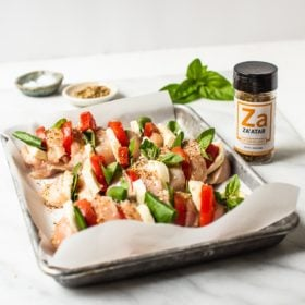 Za'atar hasselback chicken in a pan