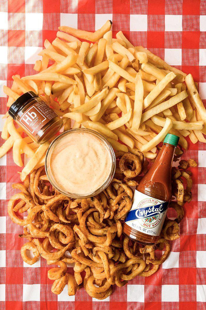 Vegan fry sauce with regular fries and curly fries