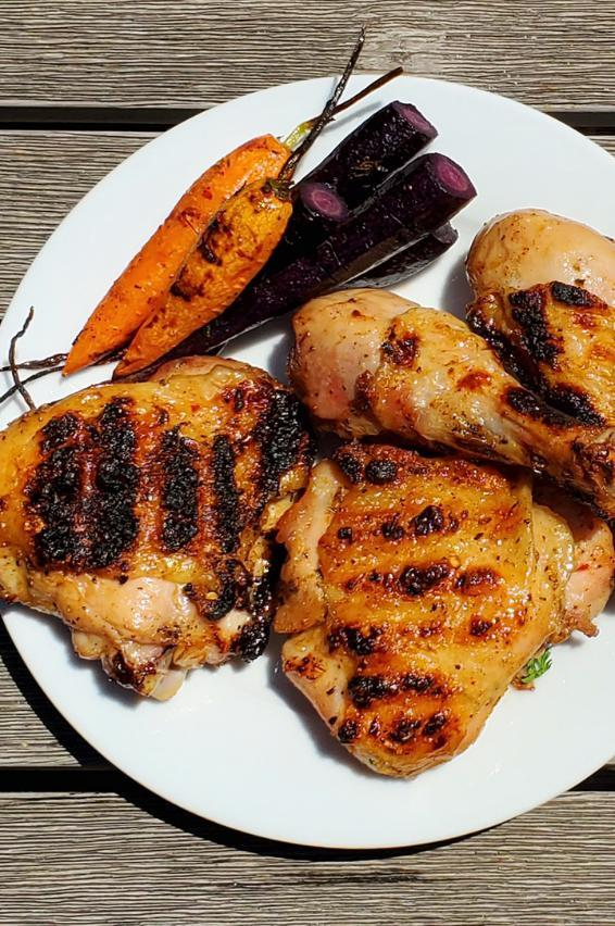 Dry brine grilled chicken on a plate