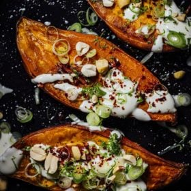 Baked Sweet Potatoes with Maple Crème Fraîche