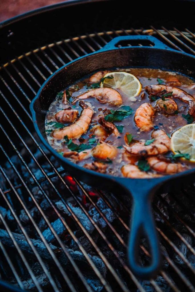 GirlCarnivore Cajun Shrimp in a cast iron