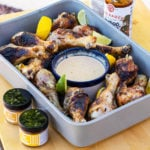 New Belgium grilled chicken in a tray