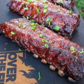 Sweet teriyaki sake ribs on cutting board